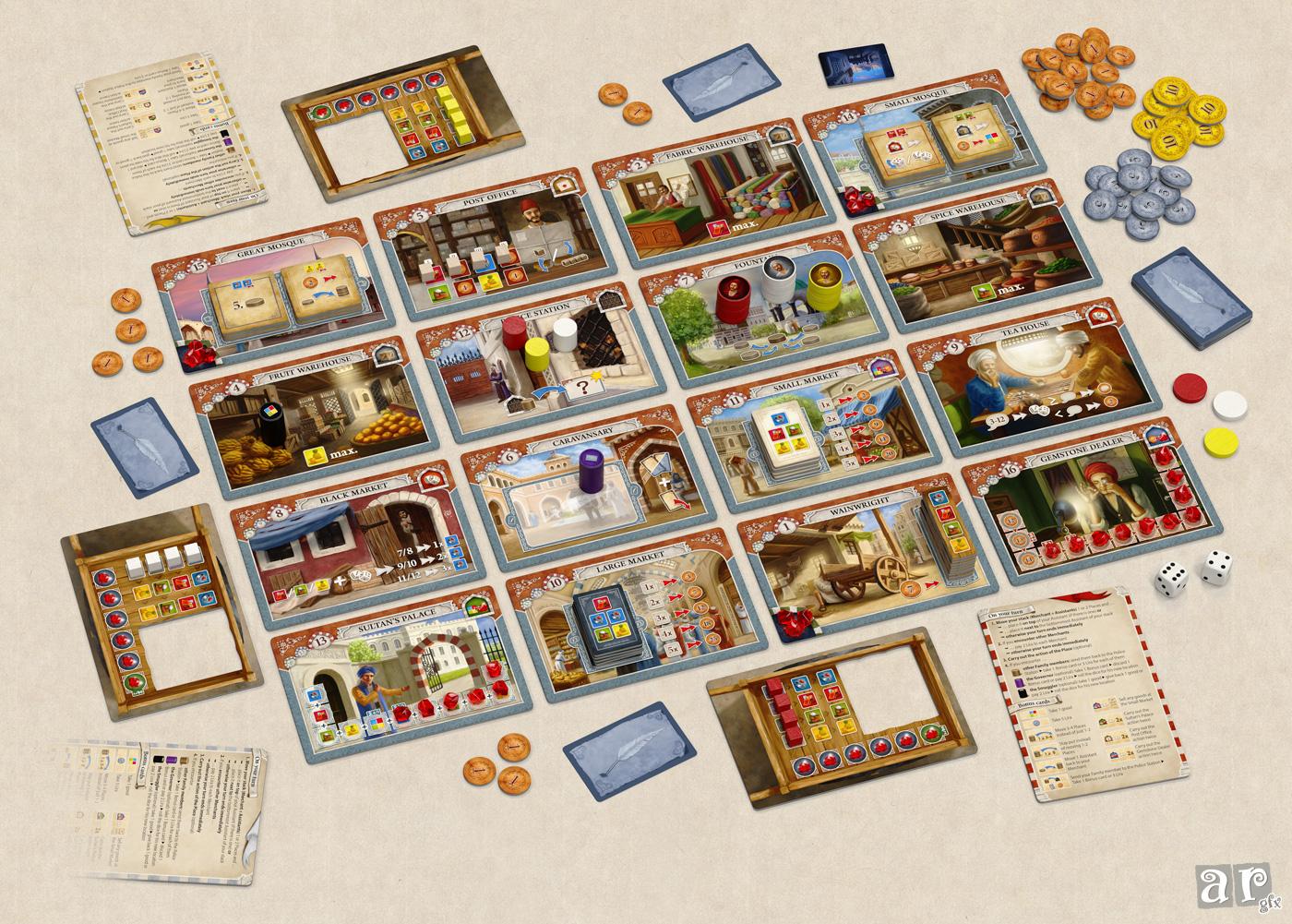 Istanbul - Aufbau für eine 3-Spieler-Partie
